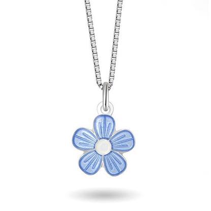 Smykke Blå blomst i sølv