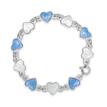 Armbånd i sølv - Lys blå hvite hjerter