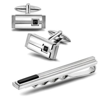 Mansjettknapper med sort krystall og slipsnål i stål - 971567/971577