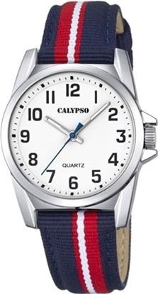 Calypso barneur 5 atm rød/blå natorem,hvit skive - K5707-3