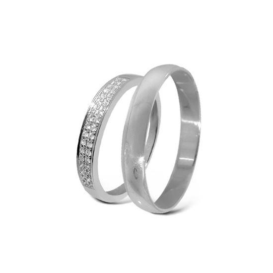 Giftering & diamantring hvitt gull 14 kt, 3 mm - 3307008-2303030