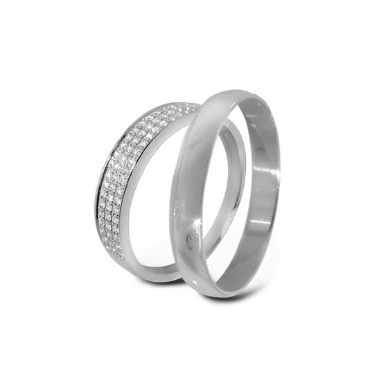 Giftering & diamantring hvitt gull 14 kt, 3 mm - 3307016-2303030