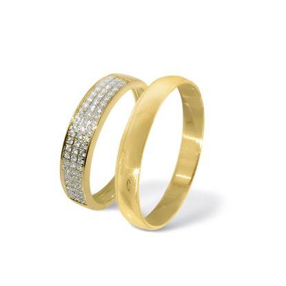 Giftering & diamantring gult gull 14 kt, 3 mm - 33070160-230303
