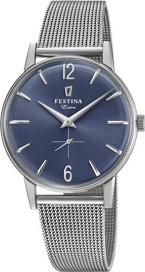 Festina Extra klokke stål 30m, meshlenke, blå skive- F20252-3