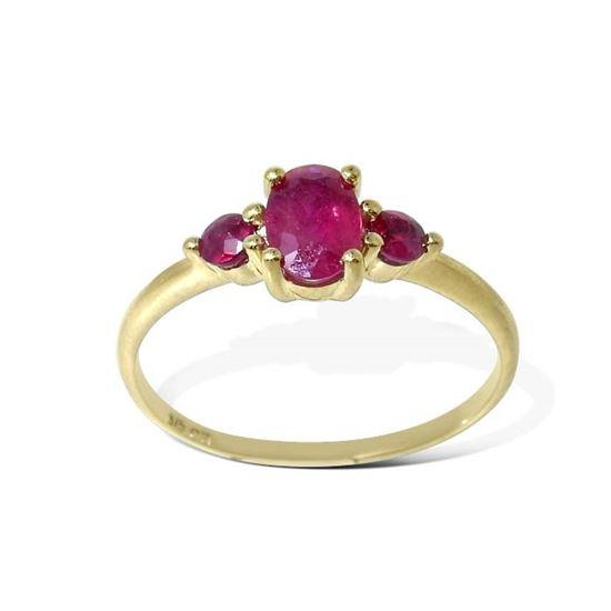 Diamantring gull med rubin - bur615220
