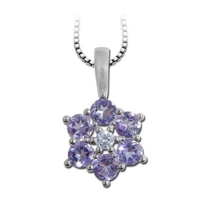 Diamantsmykke med 0,03 ct W-P1 & ametyster-bur3220573