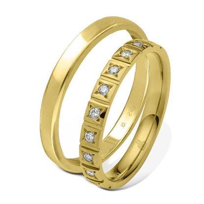 Giftering & diamantring 0,15 ct gull 14kt, 3 mm - 1103509-11530