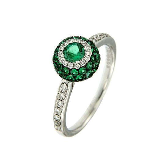 Smaragd diamantring i hv. gull 18 kt med diam 0,22ct. GOVONI -RF10275EM-01
