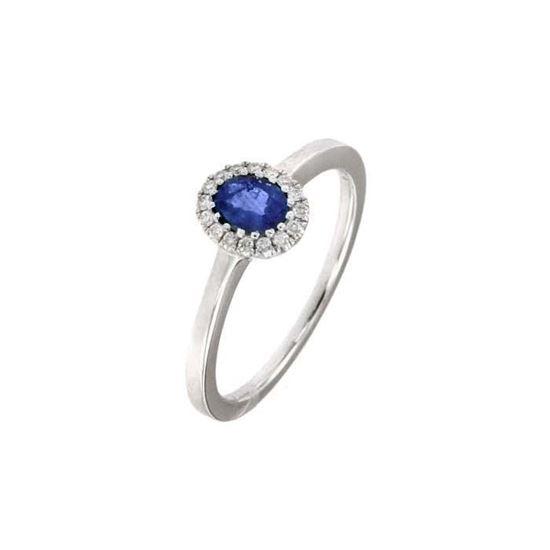 Safir diamantring i hv. gull 18 kt med diam 0,08ct. GOVONI -RF07406BS-02