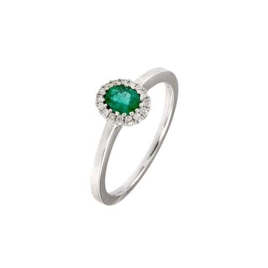 Smaragd diamantring i hv. gull 18 kt med diam 0,08ct. GOVONI -R00969WB05
