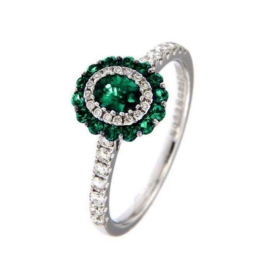 Smaragd diamantring i hv. gull 18 kt med diam 0,31ct. GOVONI -RC03836EM-02