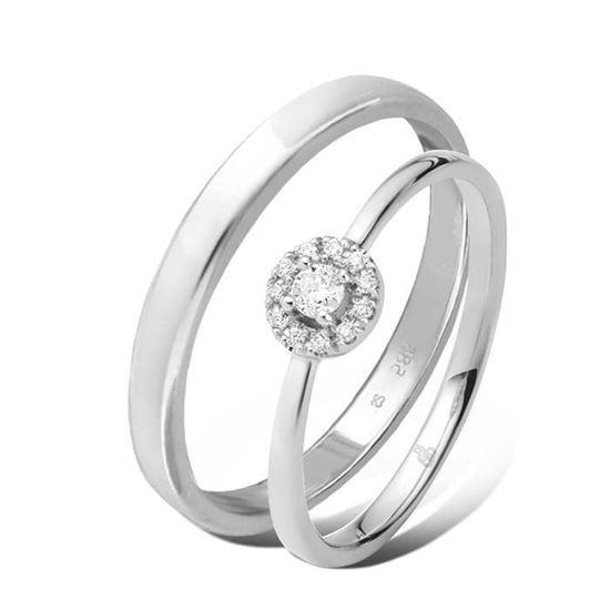 Giftering & diamantring 0,12 ct TW-Si i hvitt gull -5100022-11530