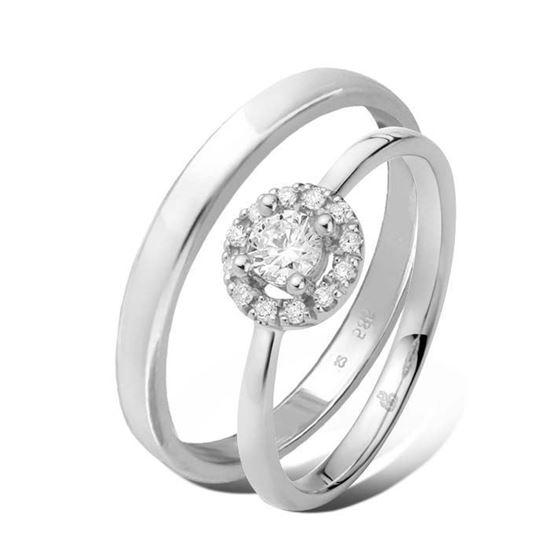 Giftering & diamantring 0,21 ct TW-Si i hvitt gull -5100025-11530
