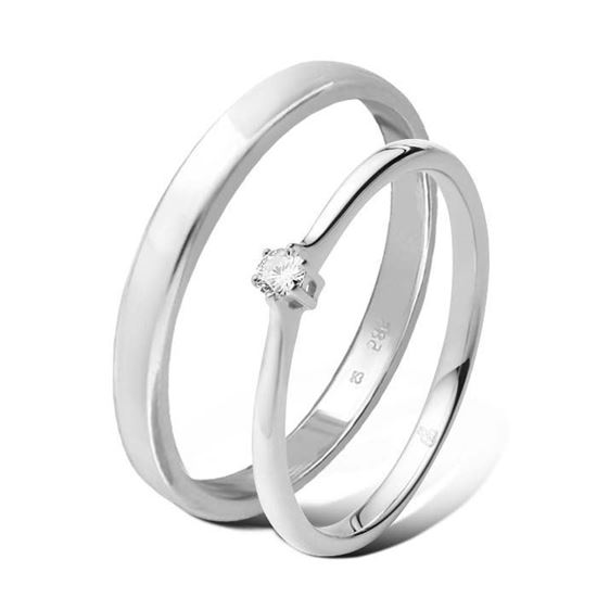 Giftering & diamantring 0,06 ct TW-Si i hvitt gull -5100012-11530