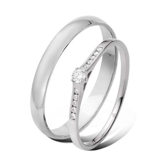 Giftering & diamantring 0,10 ct TW-Si i gull 9 kt, 3 mm -5100032-1330