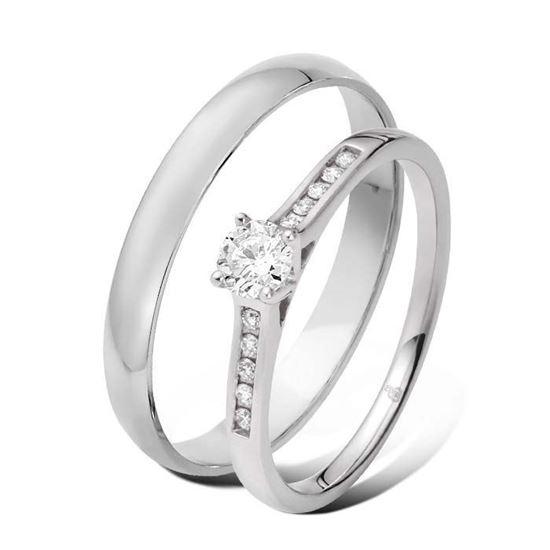 Giftering & diamantring 0,29 ct TW-Si i hvitt gull -5100035-1330