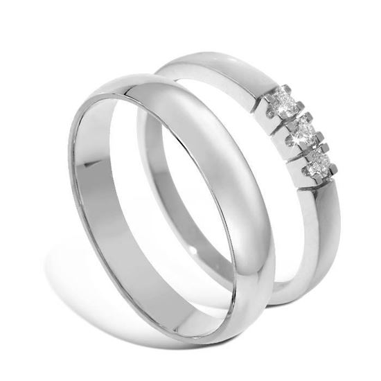 Giftering & diamantring Iselin hvitt gull 14 kt, 2.5 mm - 1340-8503003