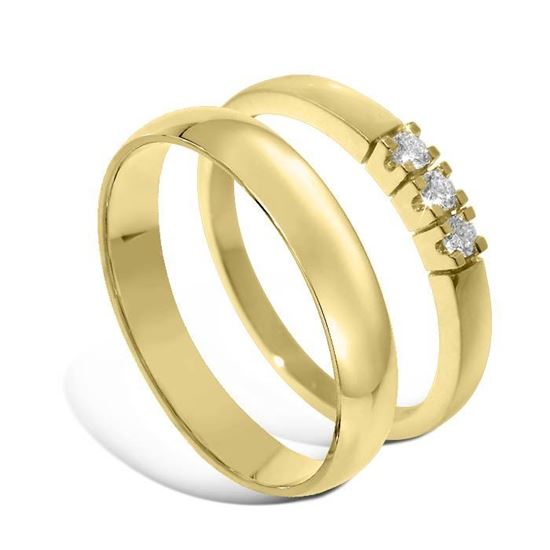 Giftering & diamantring Iselin gult gull 14k, 4 mm - 1240-85030300