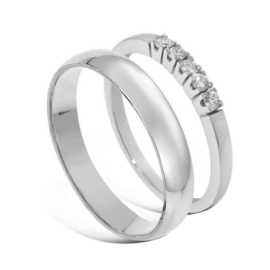 Giftering & diamantring Iselin hvitt gull 14 kt, 4 mm - 1340-8505030