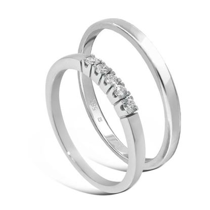 Giftering & diamantring Iselin hvitt gull 14kt, 2 mm - 115250-8505030