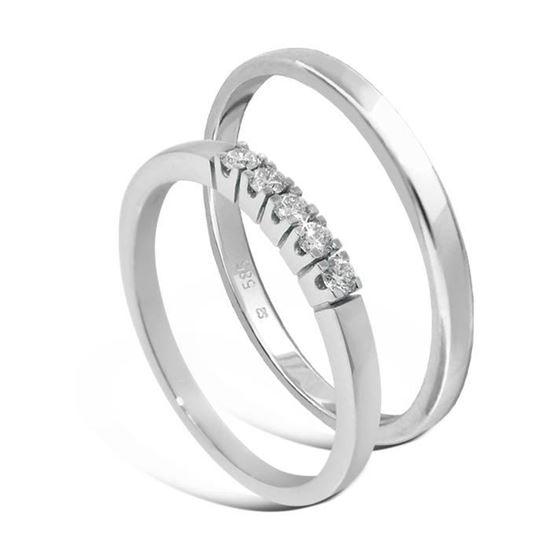 Giftering & diamantring Iselin hvitt gull 14kt, 2 mm - 115250-8505030
