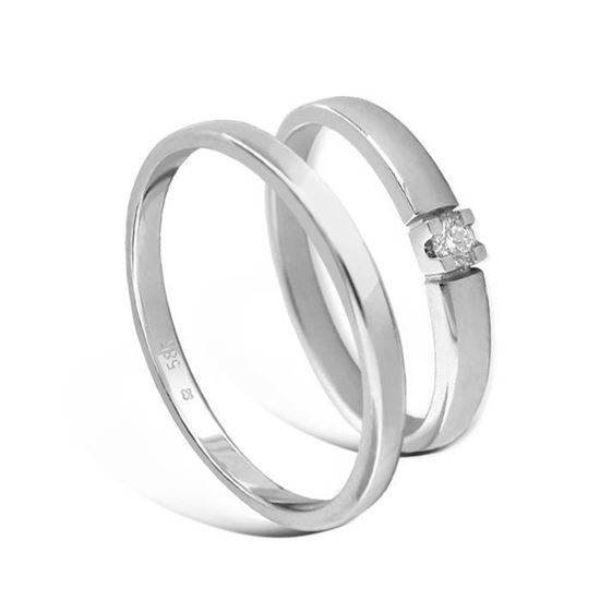 Giftering & diamantring Iselin hvitt gull 14kt, 2.5 mm - 115250-8501005