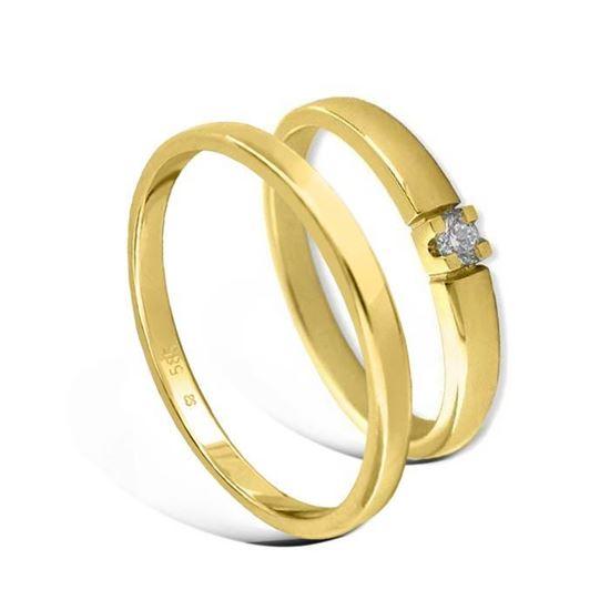 Giftering & diamantring Iselin gult gull 14k, 2.5 mm -1152500-85010050