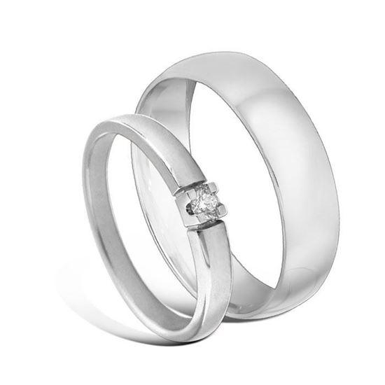 Giftering & diamantring Iselin hvitt gull 14k, 2.5 mm - 1350-8501005