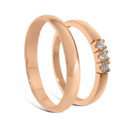 Giftering & diamantring Iselin 0,09ct i rødt gull , 3,5 mm - 110235-850303000