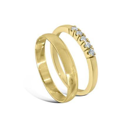 Giftering & diamantring Iselin gult gull 14 kt, 3 mm - 230303-85050300