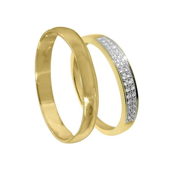 Giftering & diamantring 0,08 ct gult gull, 3 mm - 3307008-23030300