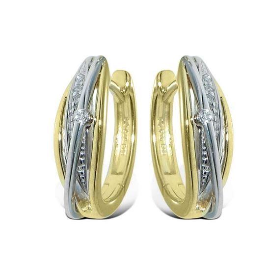 Diamant øredobber i gult & hvitt gull - 736937