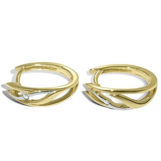 Diamant øredobber i gult & hvitt gull - 736848