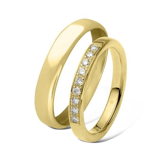 Giftering & diamantring 0,27ct gult gull 4 mm -1440-11034630