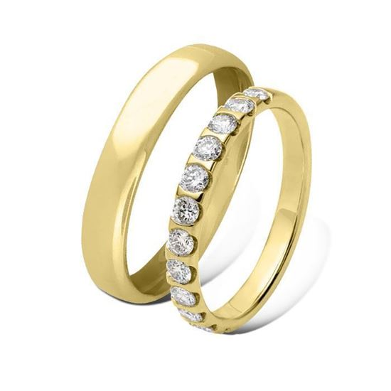 Giftering & diamantring 0,60 ct gult gull 4 mm - 1440-41362120