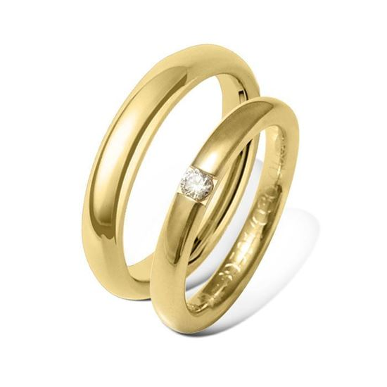 Giftering & diamantring 0,09 ct gult gull 4 mm - 7713404-4139501