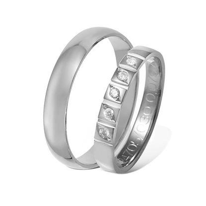 Giftering & diamantring 0,075 ct hvitt gull 4 mm - 1340-41247050