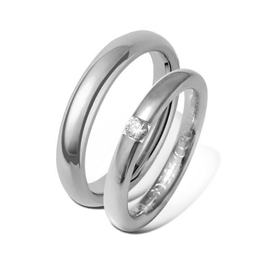 Giftering & diamantring 0,09 ct hvitt gull 3 mm - 13403-41395010