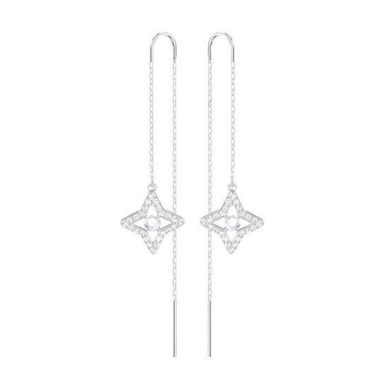 Swarovski øredobber Sparkling Dance Star, Rhodium plating - 5349665