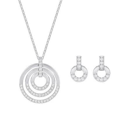 Swarovski smykkesett. Circle, Medium, Rhodium plating - 5367727