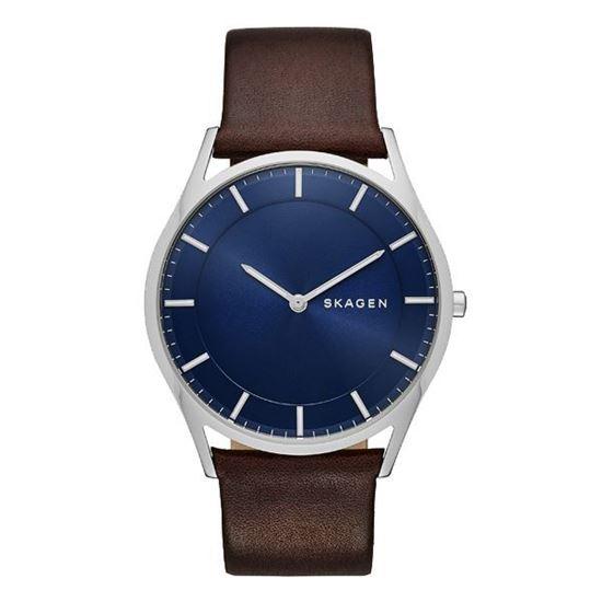 Skagen klokke. Holst Blue Dial Brown Leather Men's - SKW6237