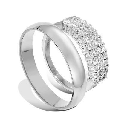 Giftering & diamantring 0,65ct hvitt gull, 4 mm - 1340-3307065
