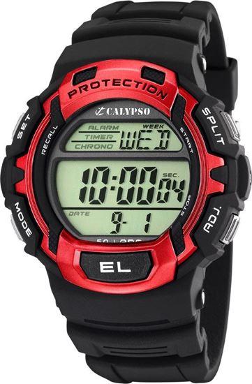 Calypso klokke. Digital, sort/rød - K5573-4