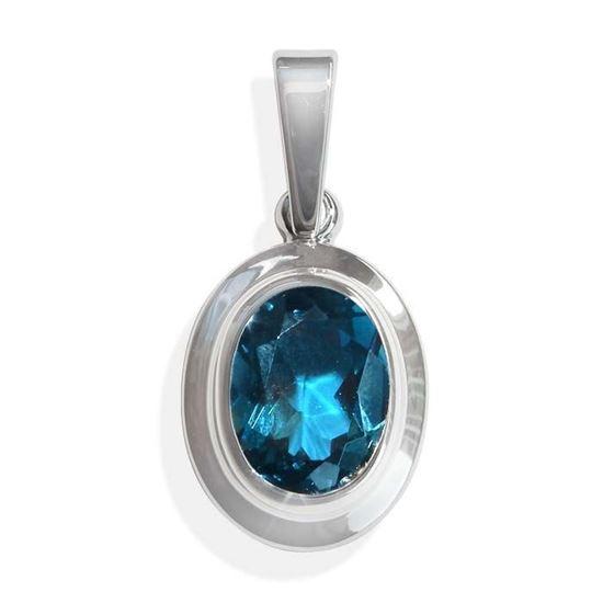 Smykke i hvitt gull med blå topas -BUR32002923