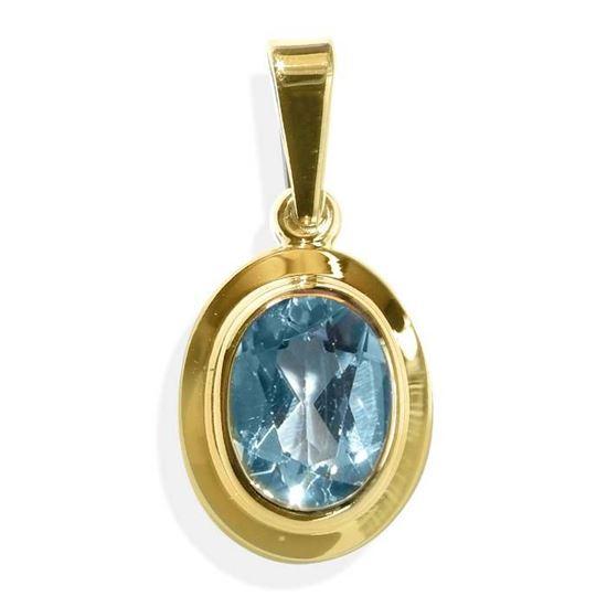 Smykke i gult gull med blå topas -BUR32002920