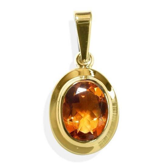 Smykke i gult gull med citrin -BUR32002918