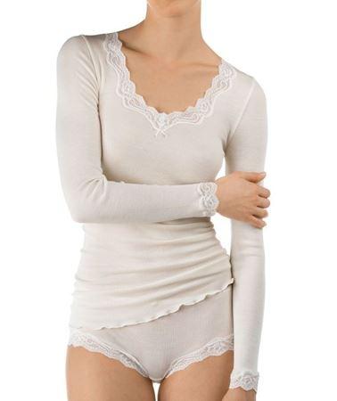 Bilde av Calida 'RICHESSE' ull/silke trøye, offwhite