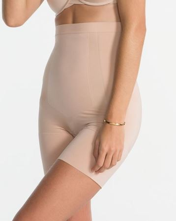 Bilde av Spanx 'SCULPT' high-waisted midthigh shorts, black/nude
