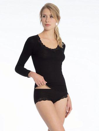 Bilde av Calida 'RICHESSE LACE' ull/silke trøye, black