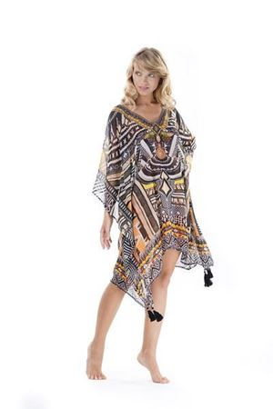 Bilde av ICONIQUE kaftan, black/yellow
